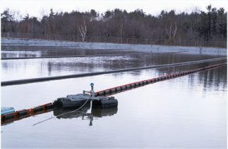 wastewater treatment basin with dissolved oxygen sensor